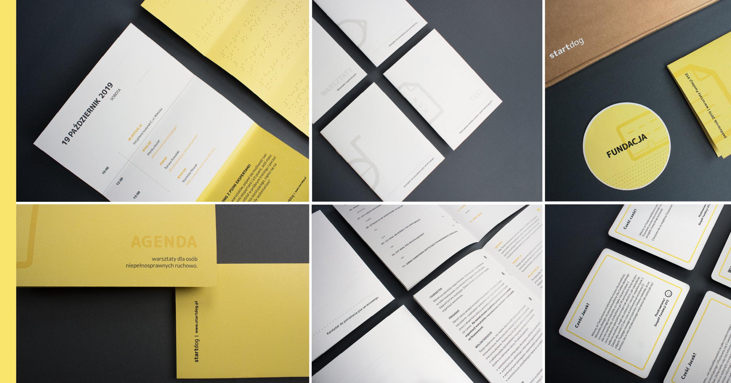 Na ilustracji znajduje się sześć połączonych zdjęć. Na zdjęciach znajdują się zaprojektowane materiały dla fundacji takie jak: agenda drukowana oraz pisana brajlem test wiedzy