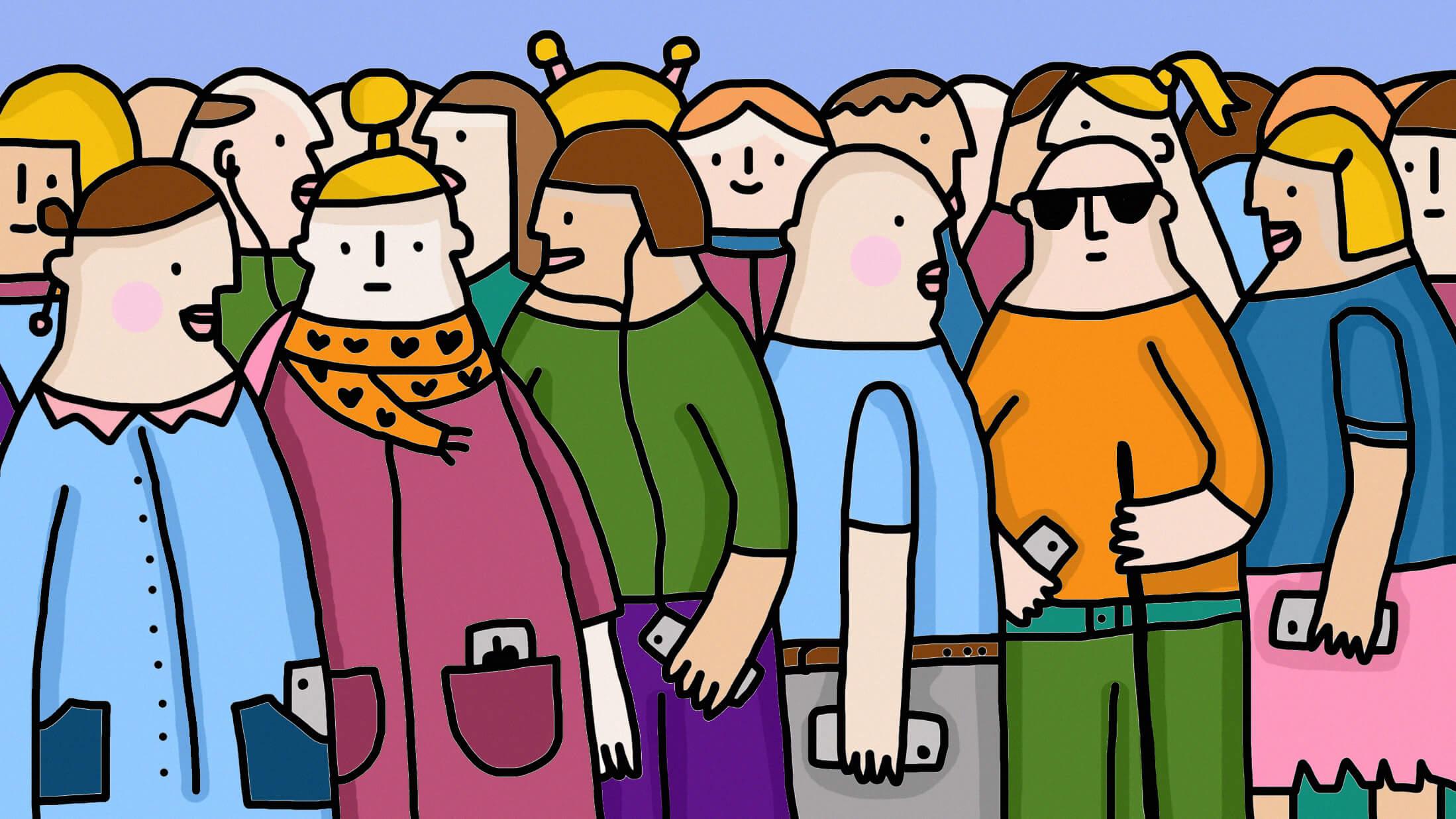 Zuzanna Tokarska ilustracja przedstawia tłum ludzi w kolorowych strojach z telefonami komórkowymi w rękach. Wśród nich stoi osoba z białą laskąi ceimnych okularach. Również trzyma w ręcę telefon.
